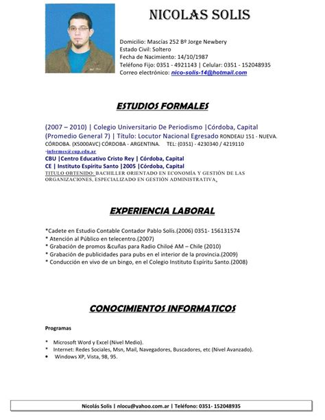 Modelo Curriculum Vitae Simple Peruano Nicolas Solis Cv Simple 1