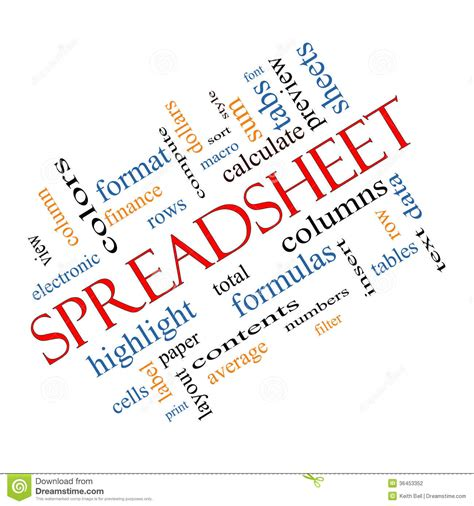 Spreadsheet Cloud by Spreadsheet Word Cloud Concept Angled Stock Photography
