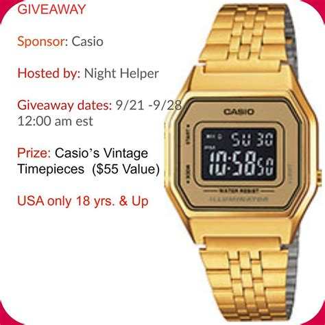 Vintage Giveaway - casio s vintage timepieces giveaway night helper