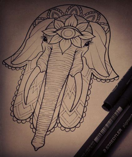 third eyed hamsa elephant tattoo design tattooimages biz