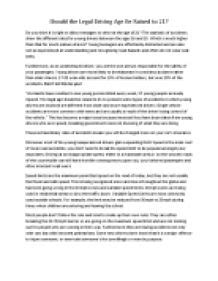 Driving Age Essay by Driving Age Essay