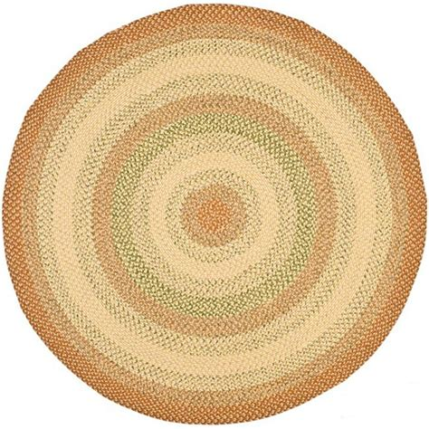 Safavieh Braided Rust Multi 8 Ft X 8 Ft Round Area Rug 8 Ft Rug