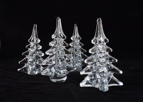 vintage lot of 4 clear glass christmas trees
