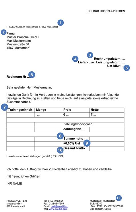 Rechnungskorrektur Umsatzsteuer Muster gratis musterrechnung f 252 r freiberufler 2017 everbill magazin