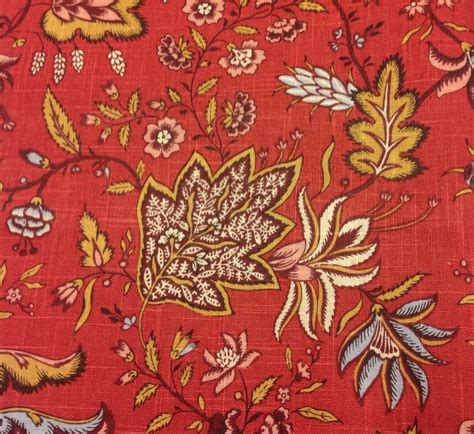 jacobean upholstery fabric fabricut floral jacobean upholstery fabric josephine rural red 2 25 yd 1734504 ebay