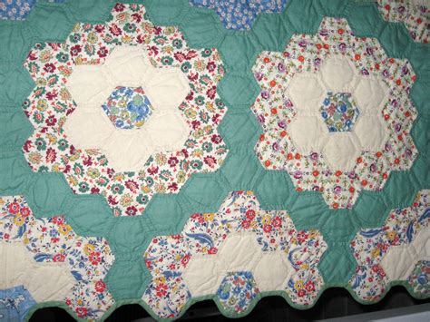 Vintage Quilt Grandmother S Flower Garden Quilt All By Grandmothers Flower Garden Quilt Pattern