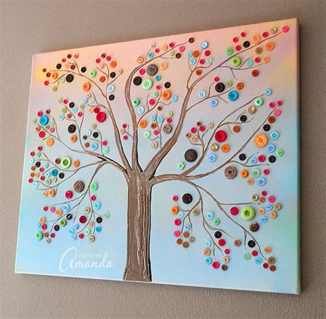diy crafts for home decor button tree crafts button tree a beautiful canvas project of vibrant colors