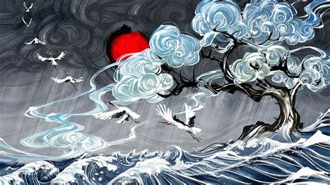 yuumei digital art water clouds waves japanese art