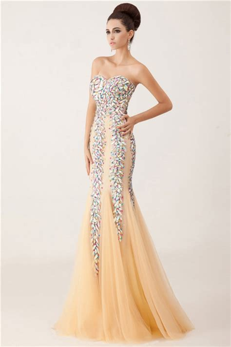 beaded mermaid prom dress unique luxury mermaid sweetheart chagne tulle crystals