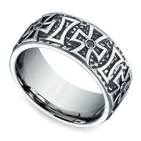 cross black diamond mens wedding ring  cobalt mm