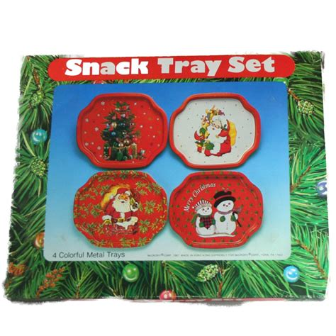 mccrory vintage metal christmas snack tray set