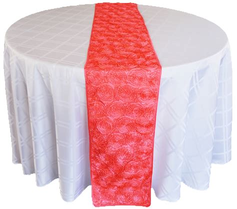 coral satin rosette wedding table runners sale