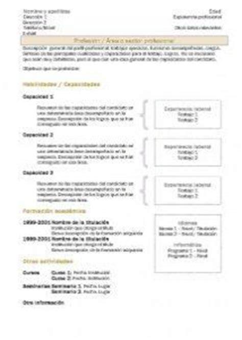 Modelo Cv Directivo Espa A curriculum vitae modelo2b ocre formacion