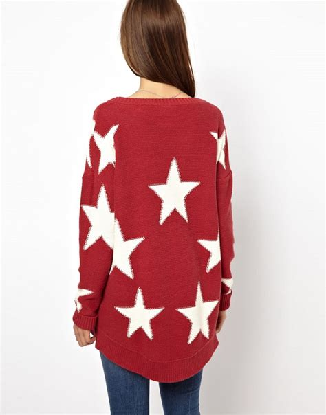star pattern knit sweater red long sleeve stars pattern knit sweater shein sheinside