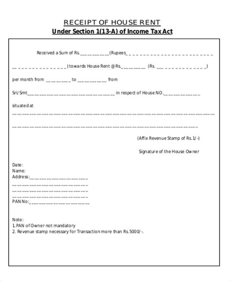 Printable Rent Receipt For Income Tax Purpose | printable rent receipt sle 6 exles in word pdf