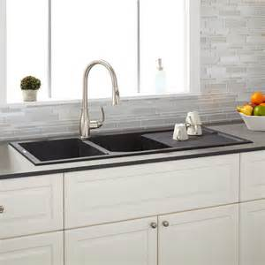 46 quot tansi bowl drop in sink with drain board black kitchen