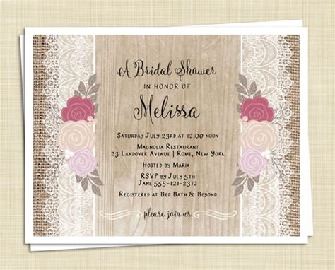 20 shabby chic bridal shower invitations roses and lace