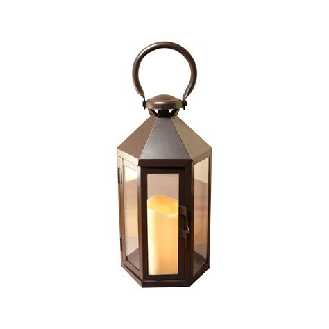 metal lantern with battery operated led candle warm black