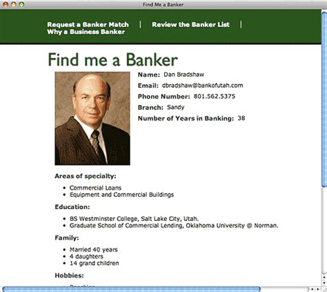 personal business profile template find me a banker like match for banking
