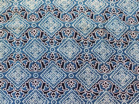 indigo blue hand block printed fabric with diamond design