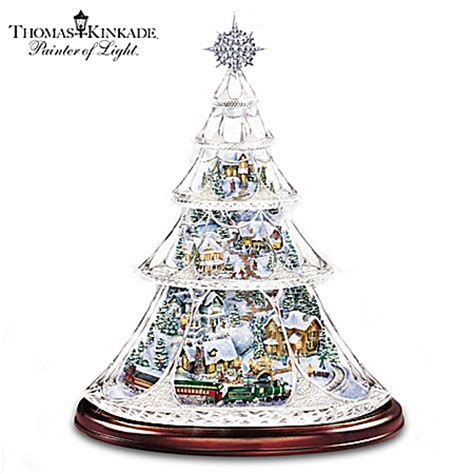 thomas kinkade animated crystal tabletop christmas tree