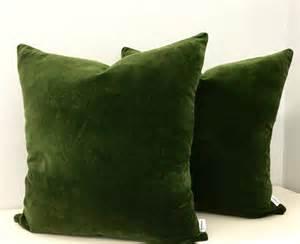 Green Sofa Pillows Moss Green Cotton Velvet Pillow Cover Green By Artdecopillow