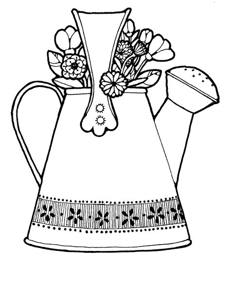 spring watering can coloring pages clipart best