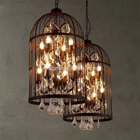 Vintage Industrial Pendant Light Bird Cage With Crystal Birdcage Pendant Light Chandelier