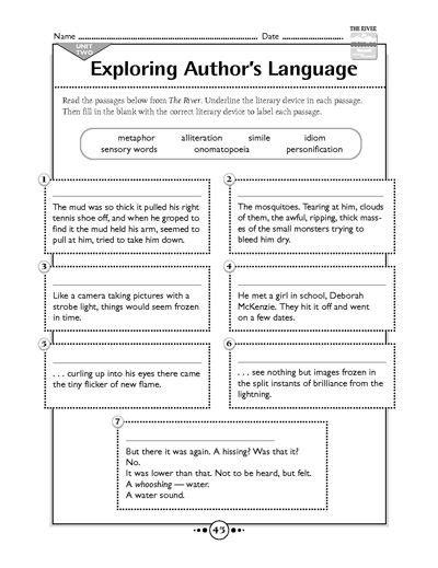 Figurative Language Worksheets For Middle School by Exploring Author S Language
