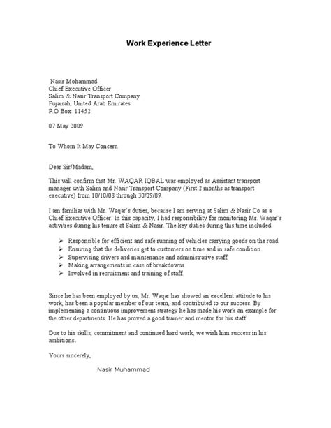 Work Experience Application Letter Exle Work Experience Letter