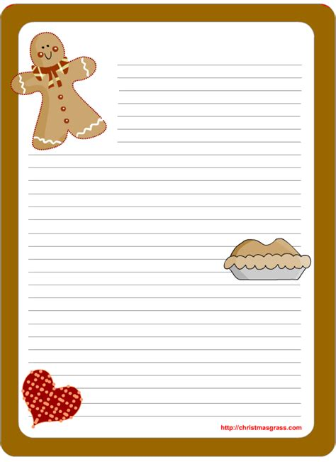 printable christmas note paper free free printable christmas stationery with gingerbread man
