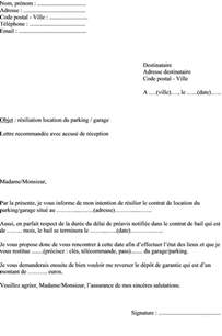 Exemple Lettre De Garant Pour Un Logement Mod 232 Le De Lettre Demande R 233 Siliation Contrat De Location D Une Place De Parking Ou Garage