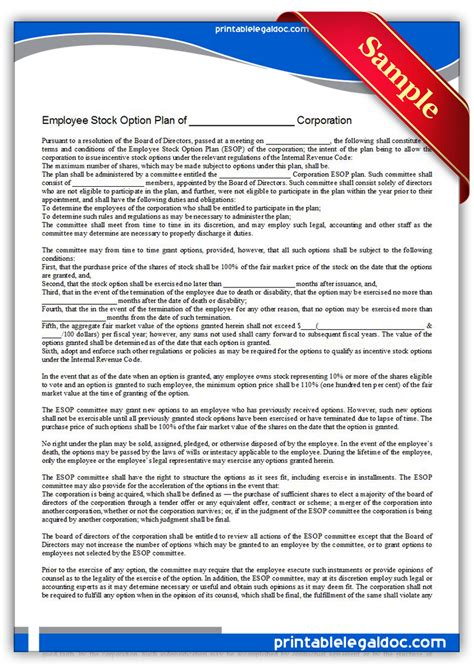 Free Printable Esop Form Generic Esop Agreement Template