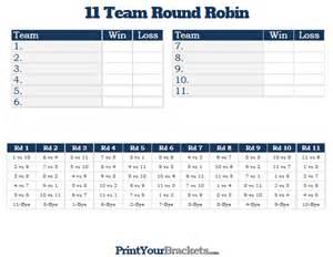 11 team round robin printable tournament bracket