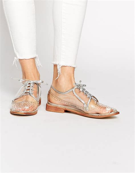 clear flats shoes image 1 of clear brogue flat shoes
