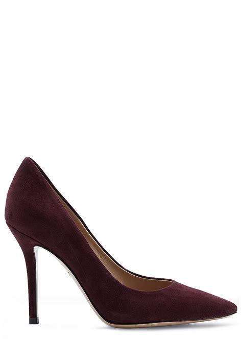 suede high heels ferragamo high heel suede pumps purple in lyst