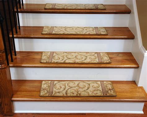 Rug Stair Treads by Beautiful Plush Carpet Stair Treads Ivory Beige Scrollwork