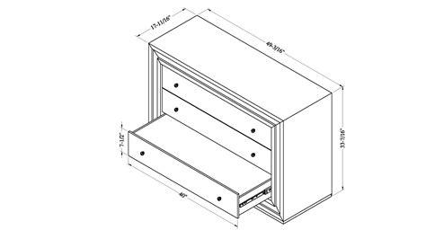 Bedroom Dresser Dimensions Malibu Contemporary Mirrored 3 Drawer Dresser Zuri Furniture