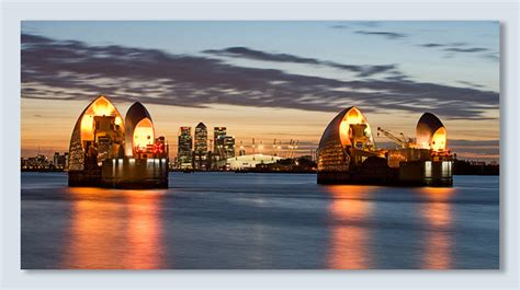 thames barrier at night london
