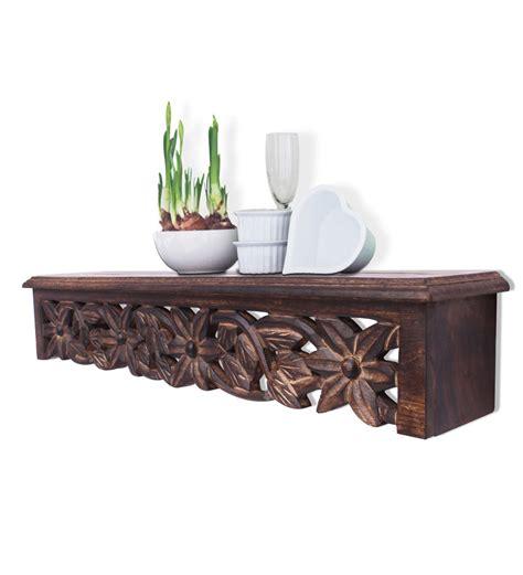 Decorative Wood Shelf by Mango Wood Longish Carved Shelf By Home Sparkle