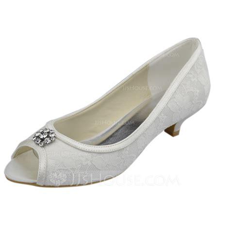 Wedding Shoes Kitten Heel With Peep Toe by S Lace Kitten Heel Peep Toe Sandals With Rhinestone