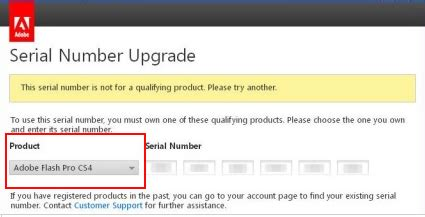 """error: """"this serial number is not for a qualifying product"""