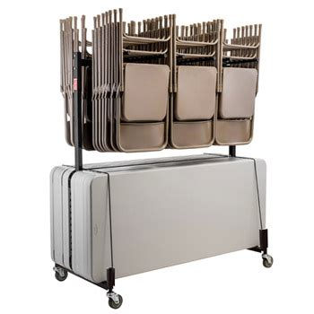 folding table storage rack all dual folding chair caddy folding table truck by nps