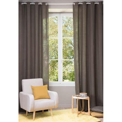 tenda lino tenda in lino slavato marrone con occhielli 130 x 300 cm