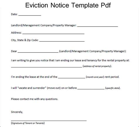 printable eviction letters sle eviction notice template pdf excelabout com
