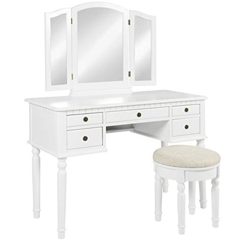 princess vanity set with mirror and bench white best choice products wooden makeup jewelry vanity set