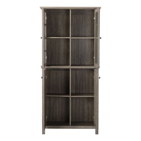 Storage Cabinet With Glass Doors Homestar 2 Door Glass Storage Cabinet In Reclaimed Wood Walmart Canada