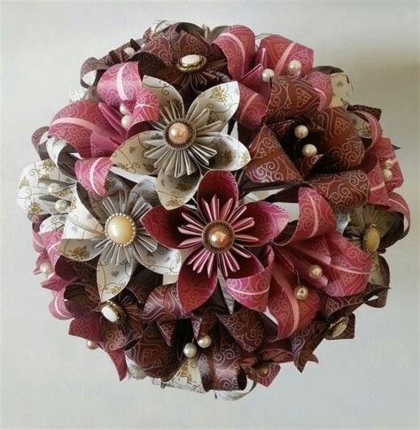 Bouquet Origami - vintage wedding theme paper origami flowers bouquet