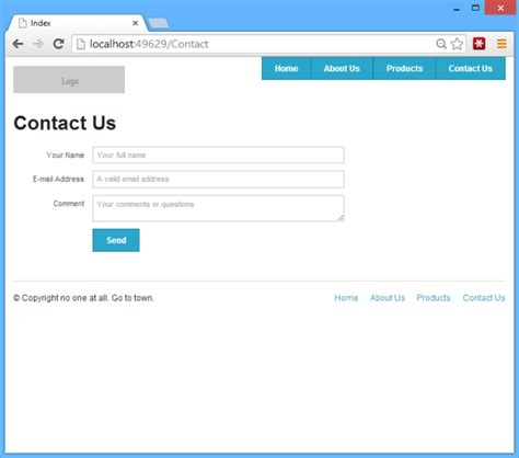 Contact Us Section Of Website by Create Asp Net Mvc Websites Using Foundation Html Css