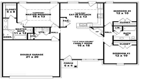 3 Bedroom Ranch Home Plans by 3 Bedroom Ranch Floor Plans 3 Bedroom One Story House